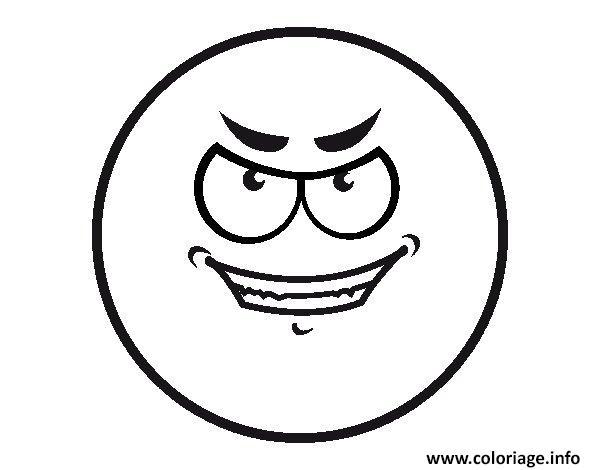Dessin smiley mauvaise intention Coloriage Gratuit à Imprimer