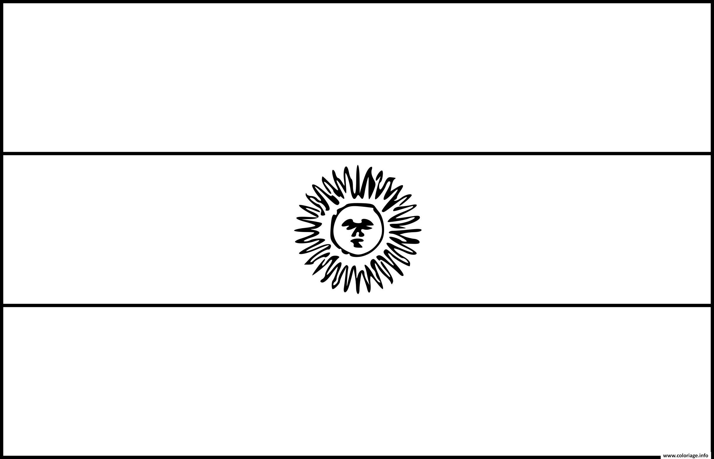 Dessin drapeau argentine Coloriage Gratuit à Imprimer