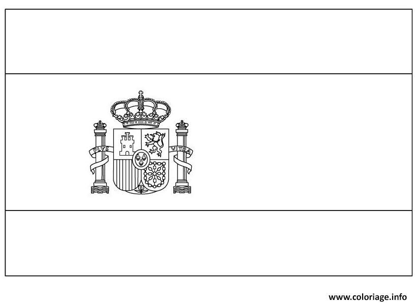Coloriage Drapeau Espagne Dessin Drapeau A Imprimer