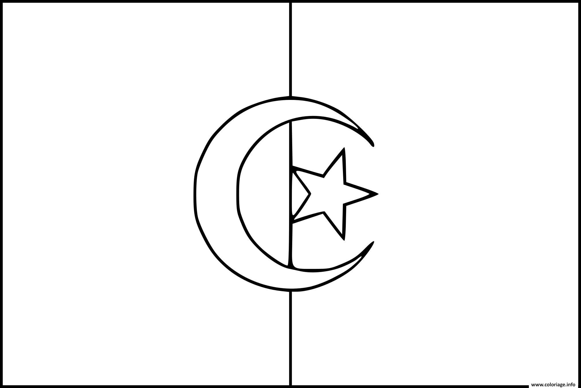 Dessin drapeau algerie Coloriage Gratuit à Imprimer