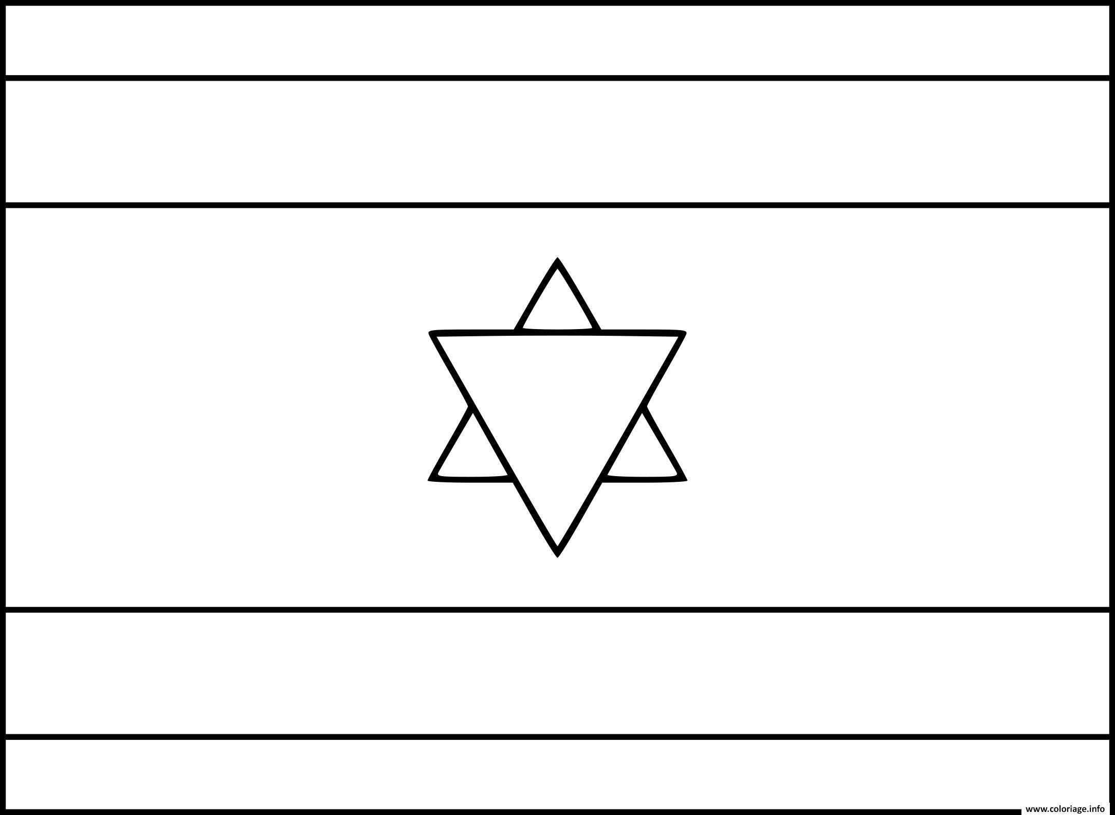 Dessin drapeau israel Coloriage Gratuit à Imprimer