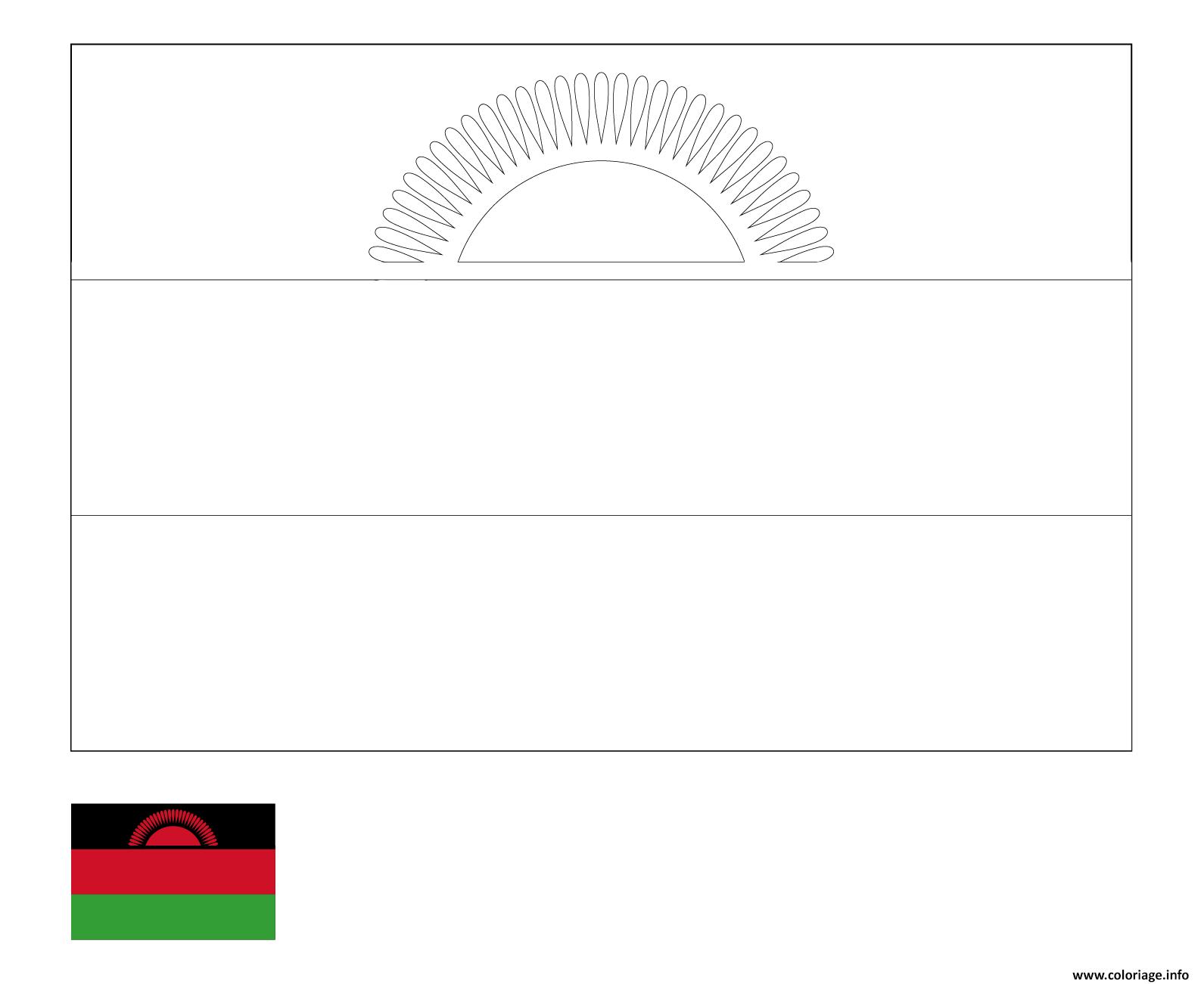 Dessin drapeau malawi pays afrique de lest Coloriage Gratuit à Imprimer