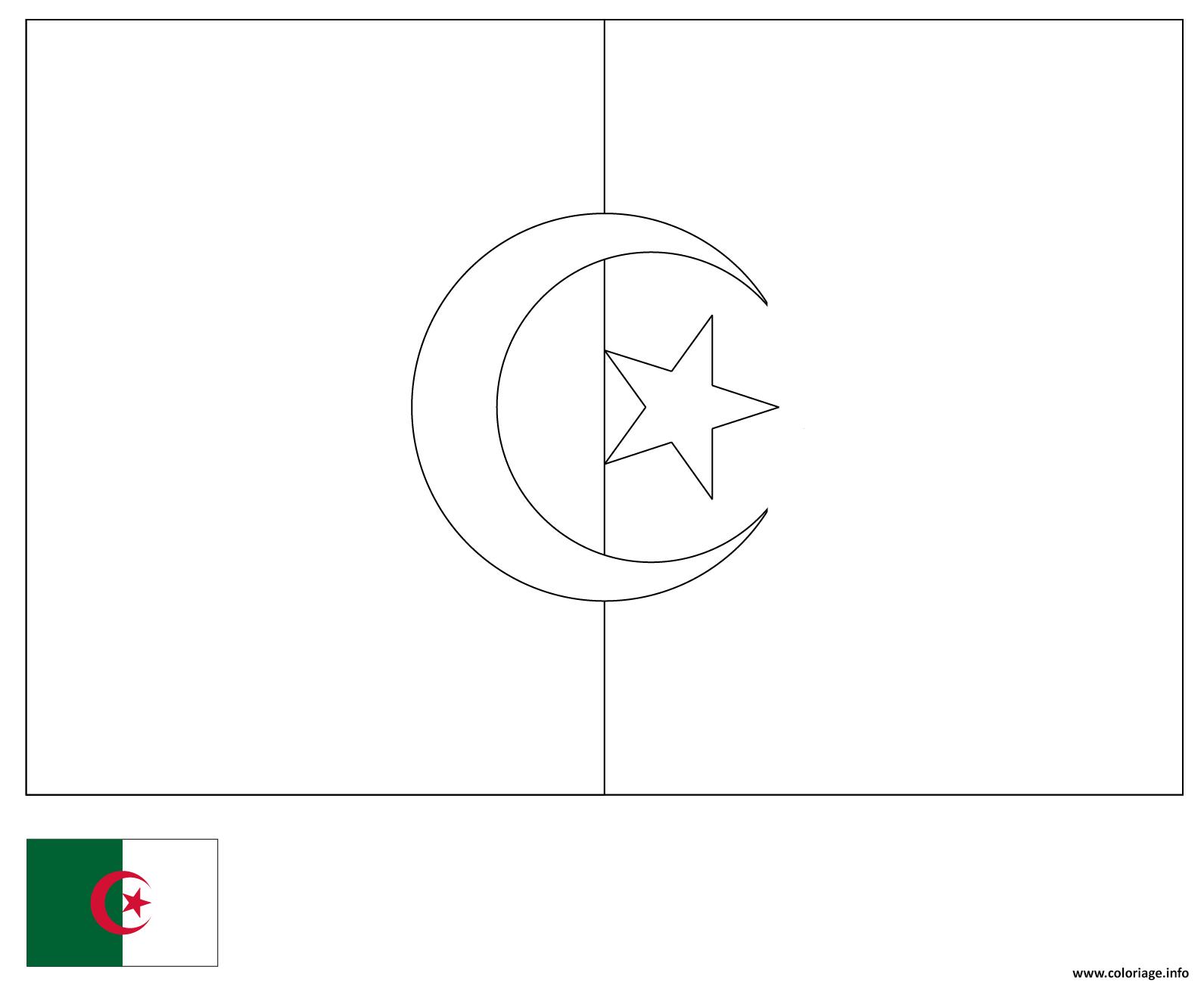 Dessin drapeau algerie 2 Coloriage Gratuit à Imprimer