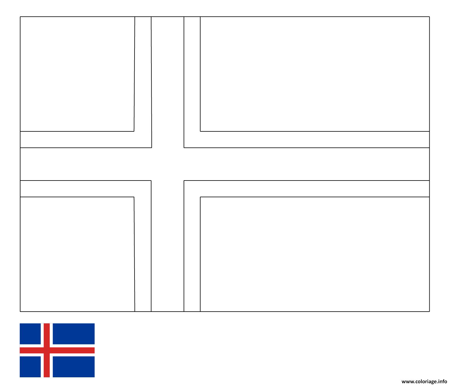 Dessin drapeau islande Coloriage Gratuit à Imprimer