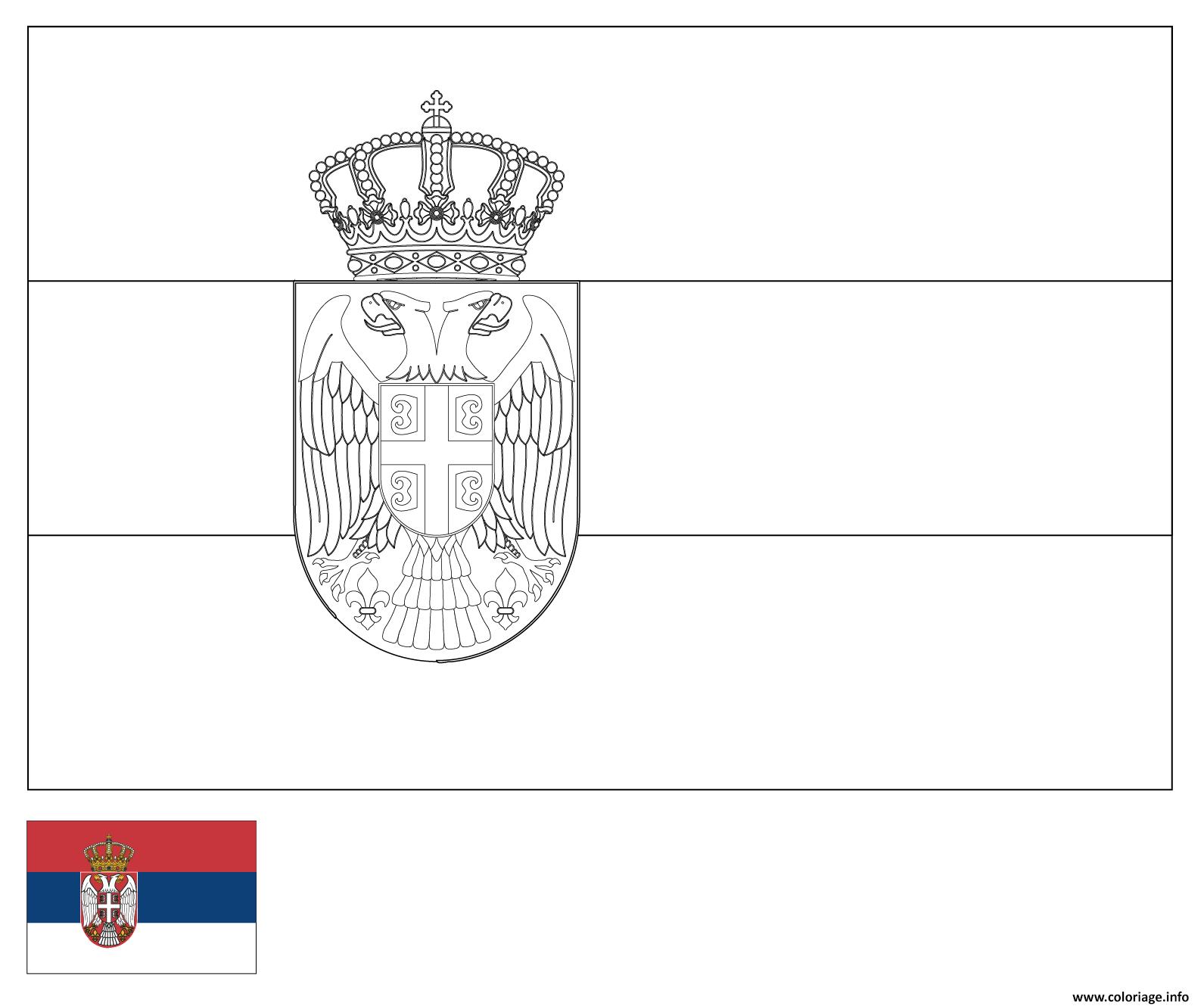 Dessin drapeau serbie Coloriage Gratuit à Imprimer