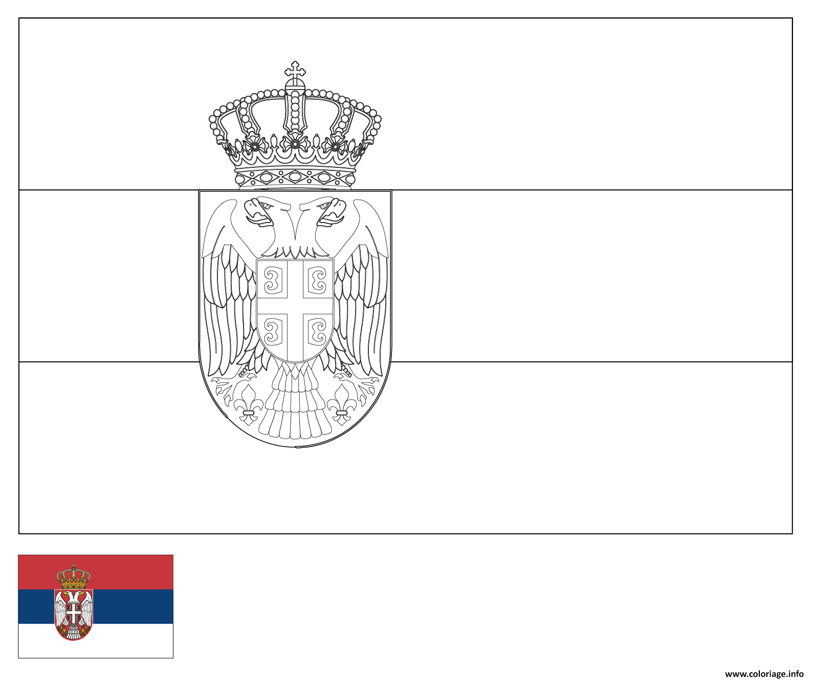 Coloriage drapeau serbie dessin - Drapeau a colorier ...