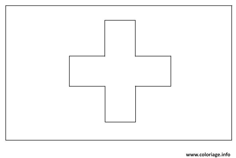 Dessin drapeau suisse Coloriage Gratuit à Imprimer