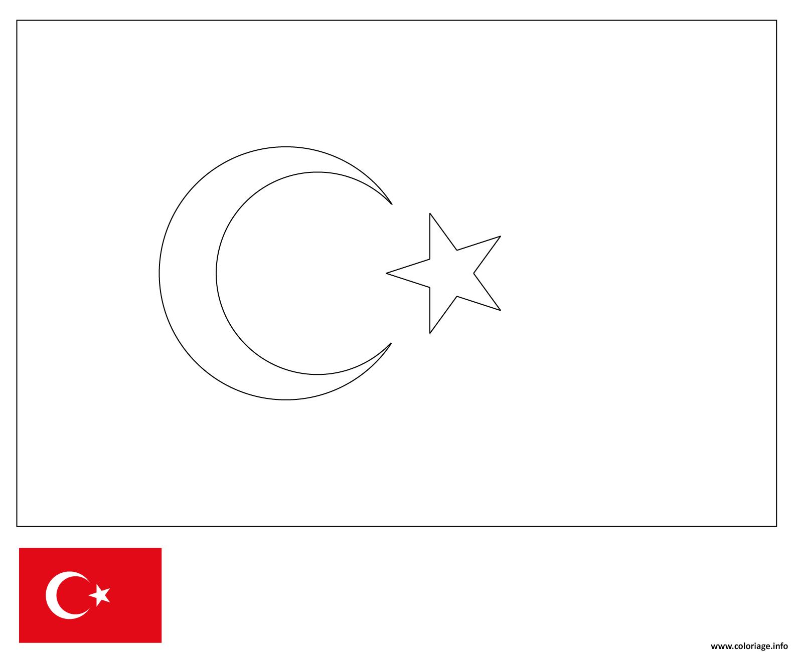 Dessin drapeau turquie Coloriage Gratuit à Imprimer