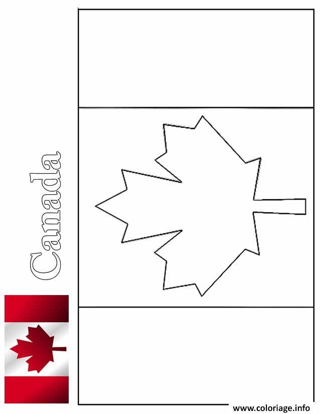 Coloriage Drapeau Canada Avec Illustration dessin