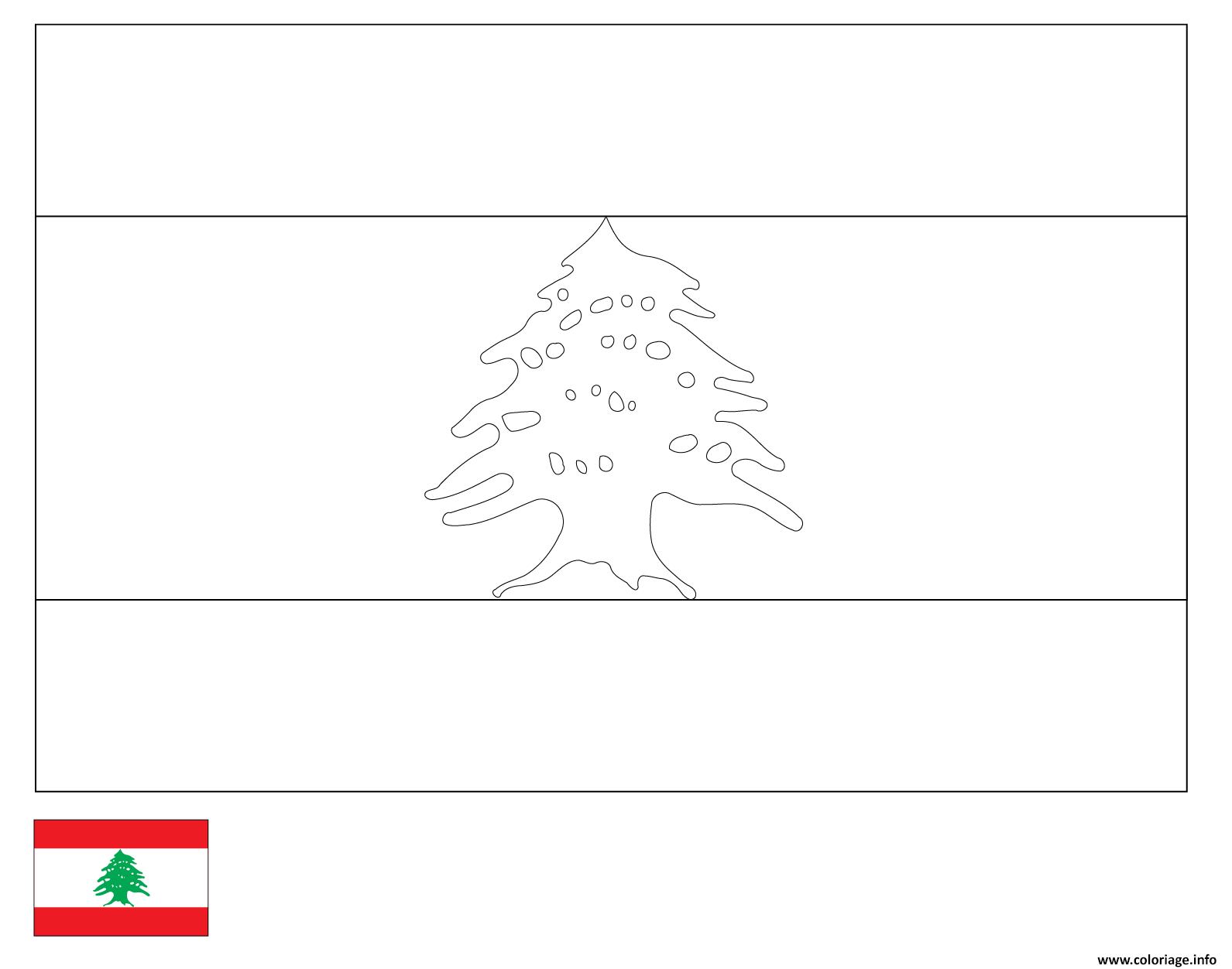 Dessin drapeau liban Coloriage Gratuit à Imprimer