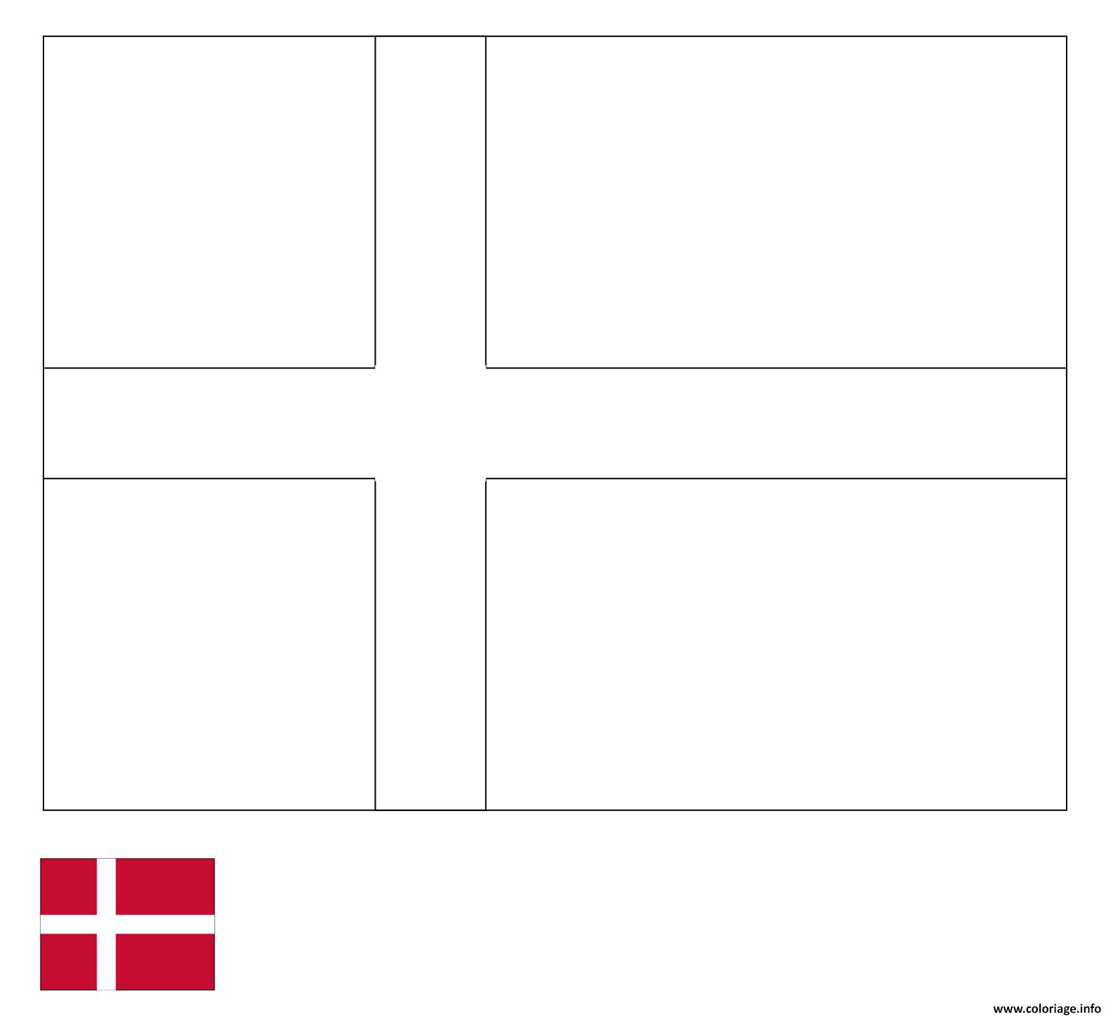 Dessin drapeau danemark Coloriage Gratuit à Imprimer
