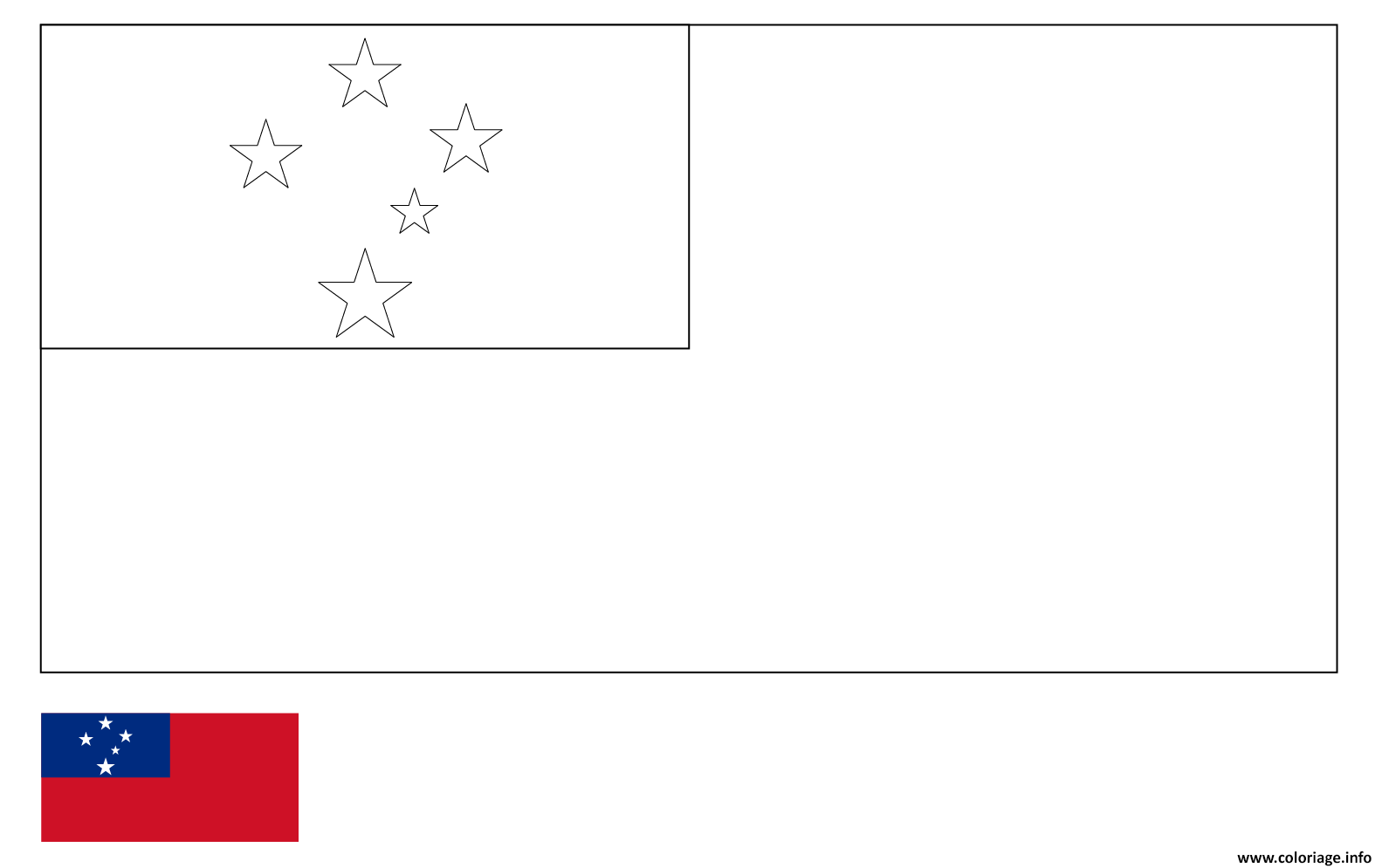 Dessin drapeau samoa Coloriage Gratuit à Imprimer