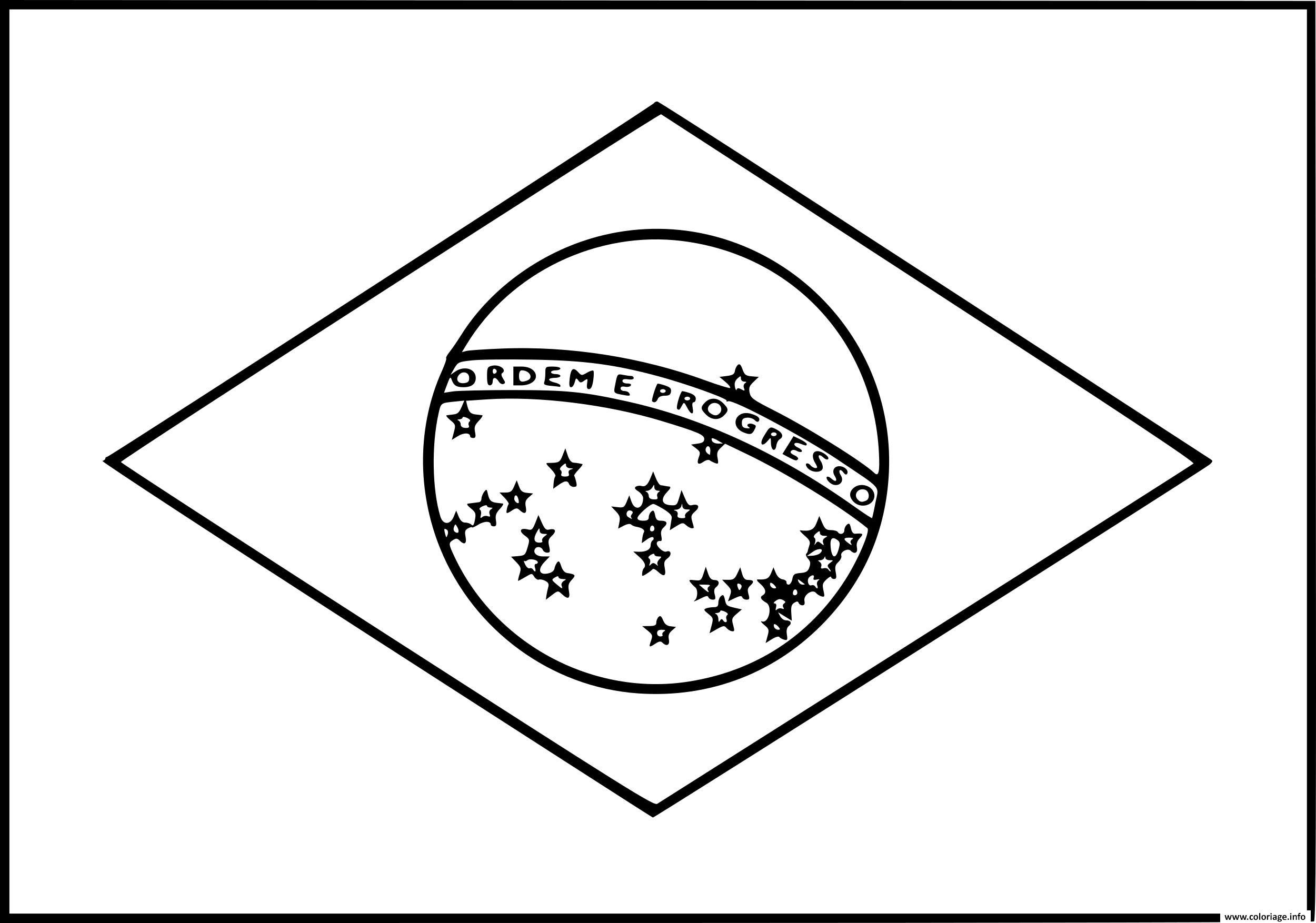 Dessin drapeau bresil Coloriage Gratuit à Imprimer
