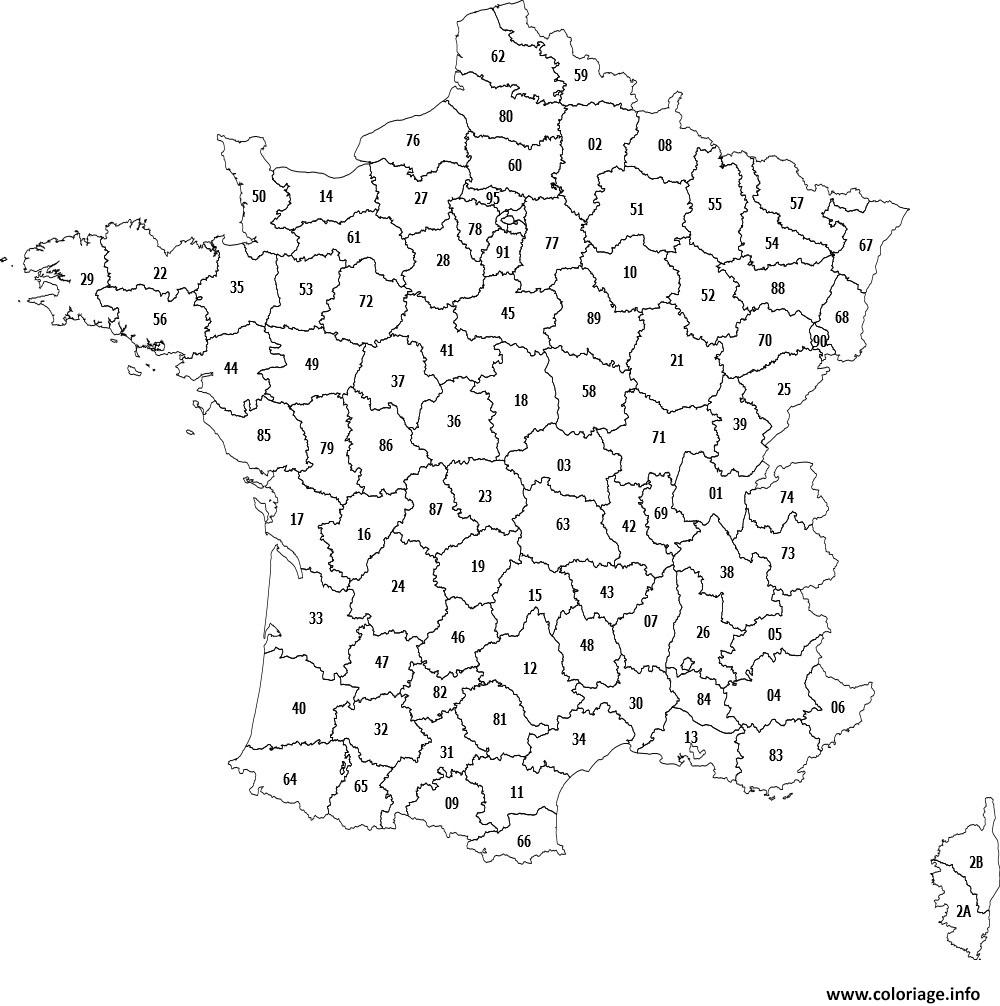 Coloriage carte des departements de france dessin - Colorier en ligne ...