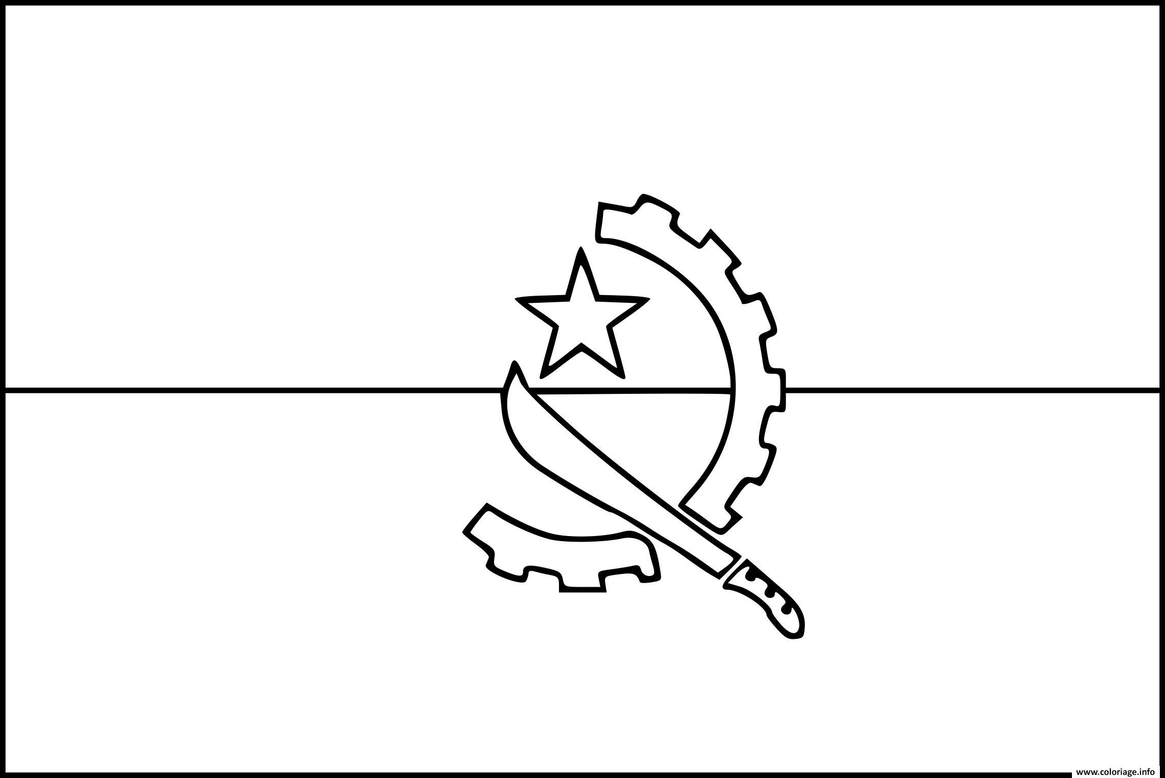 Dessin drapeau angola Coloriage Gratuit à Imprimer