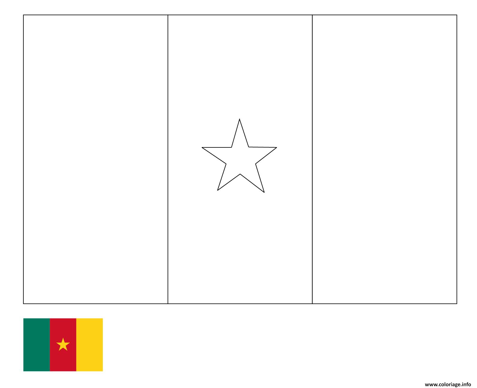 Dessin drapeau cameroun pays afrique centrale Coloriage Gratuit à Imprimer