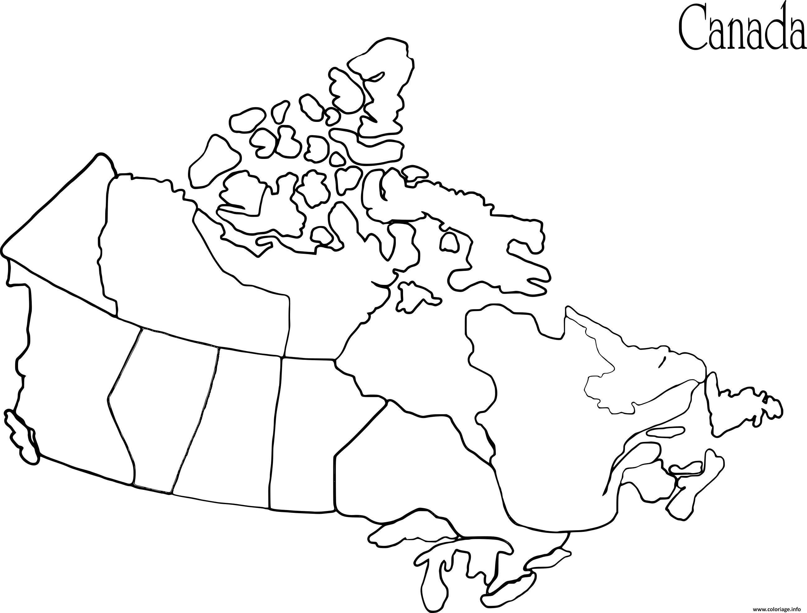 Dessin carte du canada Coloriage Gratuit à Imprimer