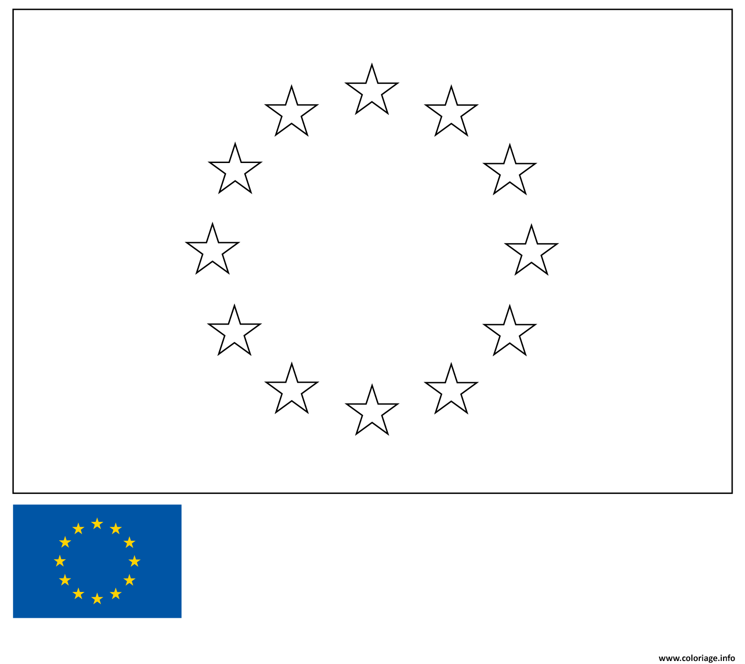 Dessin drapeau union europeenne europe european union flag Coloriage Gratuit à Imprimer