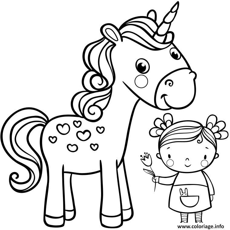 Coloriage licorne fille enfant - Fille a colorier ...
