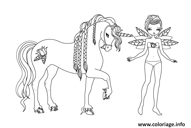 Coloriage fee licorne - Fee coloriage ...