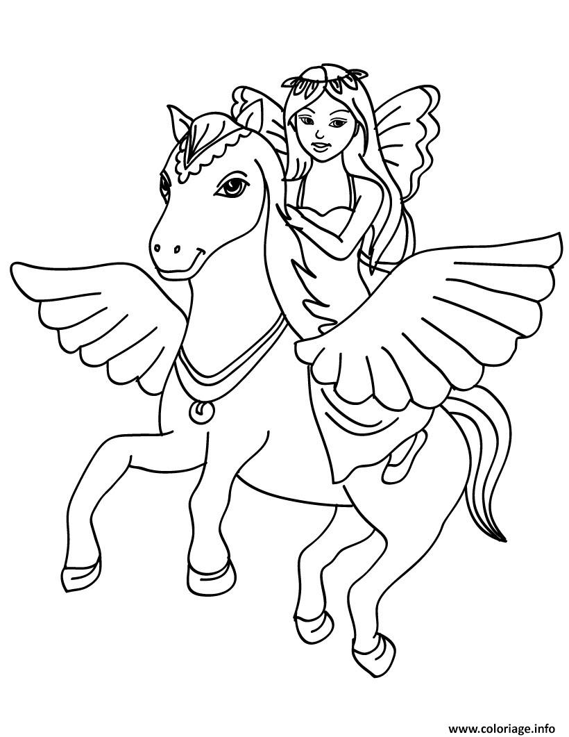 Coloriage fee licorne dans les airs - Coloriage barbie fee ...