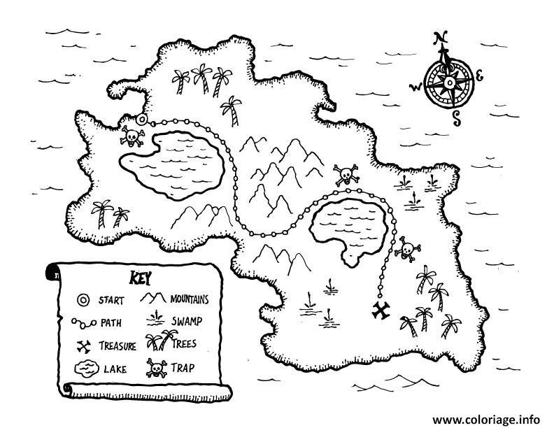 Coloriage Carte Tresor De Pirate Sur Une Ile Dessin