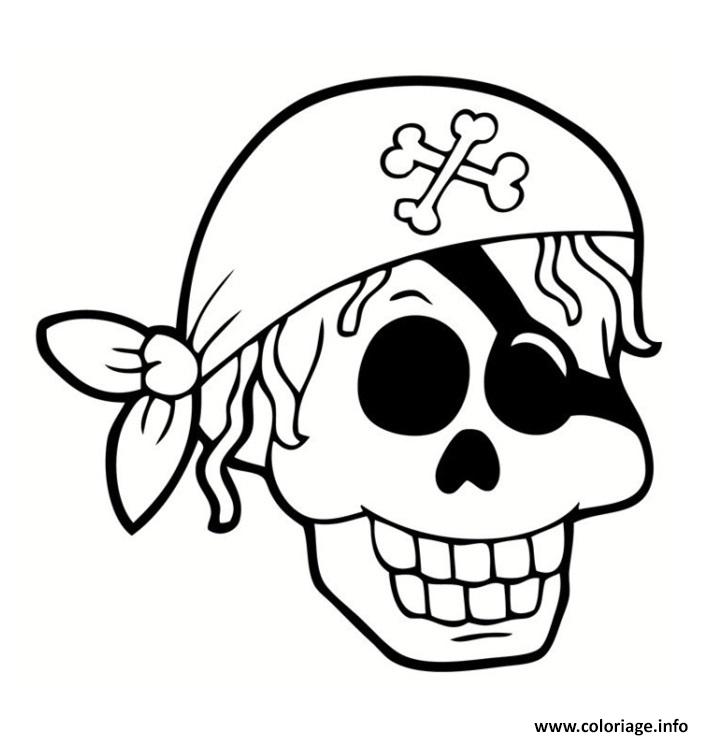 Coloriage tete de mort pirate - Tete de pirate dessin ...