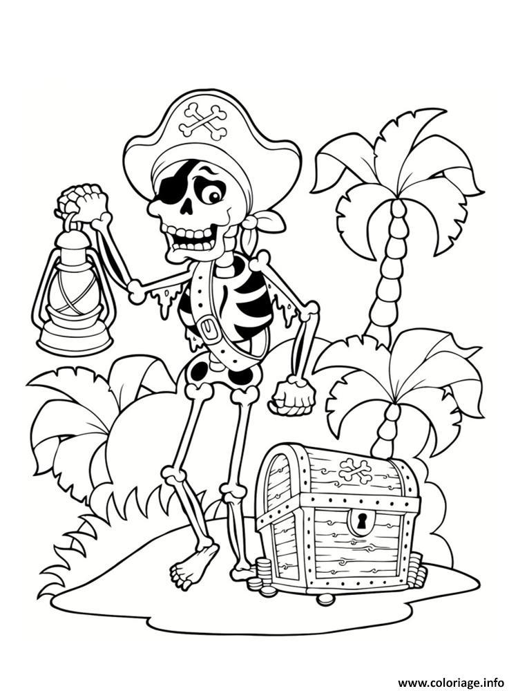 Coloriage dessin pirate squelette ile tresor palmier - Coloriage tresor ...