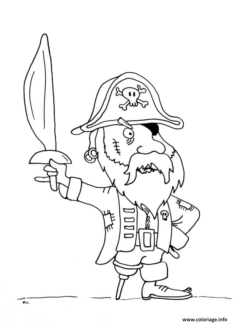 Dessin pirate jambe en bois Coloriage Gratuit à Imprimer