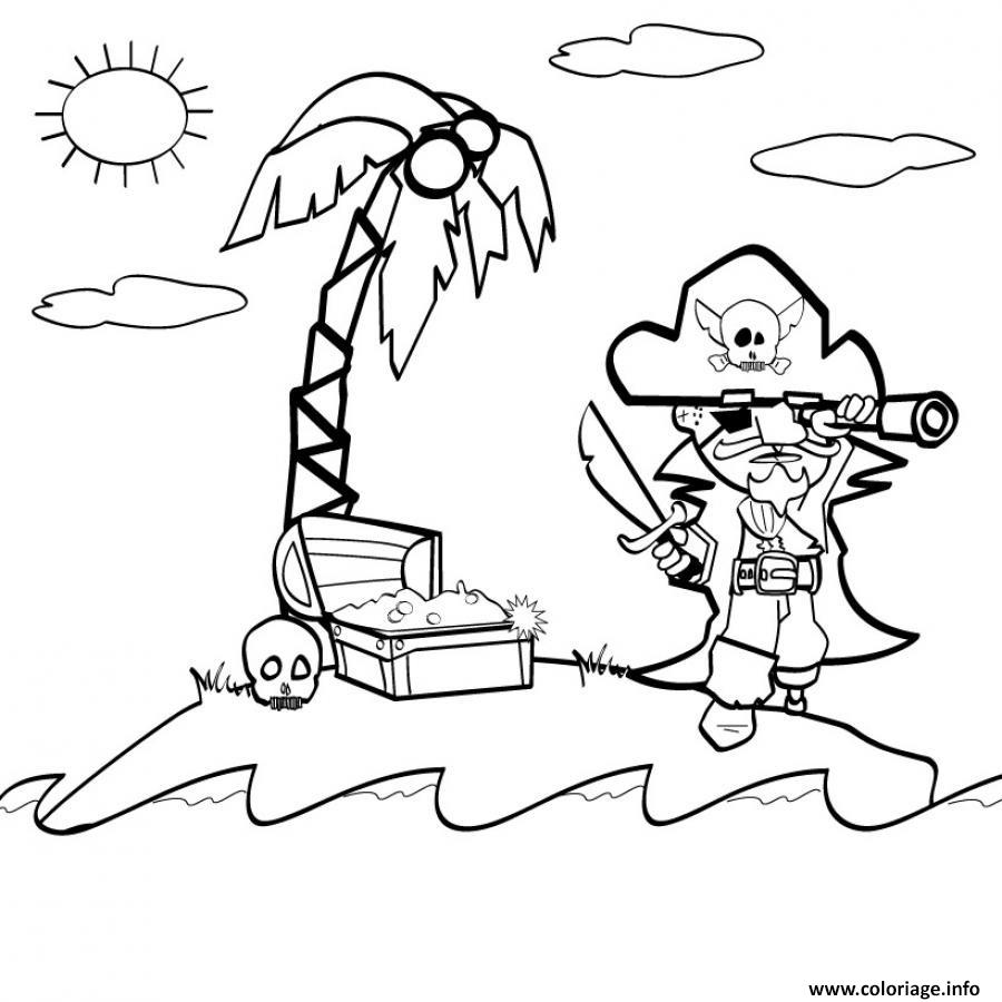 Coloriage Pirate Sur Une Ile Sans Bateau Tresors Dessin Pirate A Imprimer