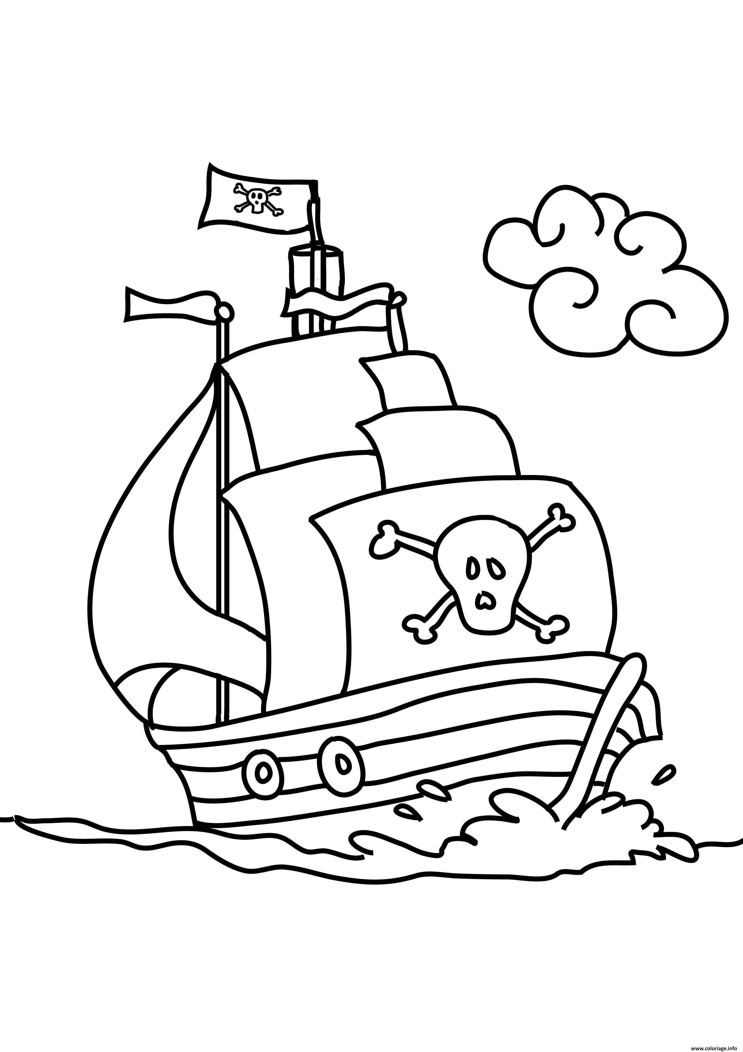 Coloriage Bateau Simple.Coloriage Bateau De Pirates Facile Maternelle Dessin