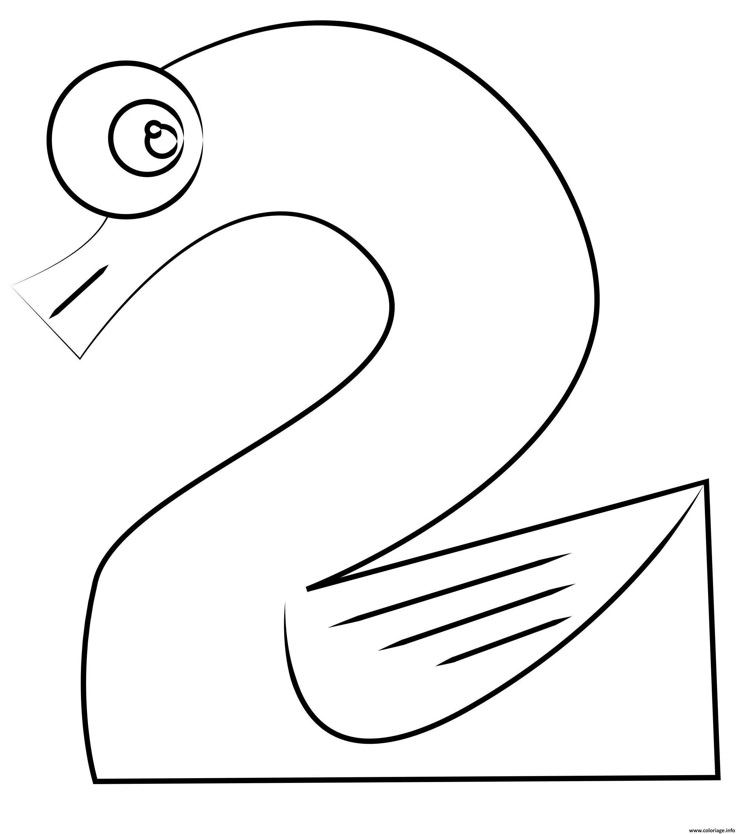 Dessin chiffre 2 maternelle Coloriage Gratuit à Imprimer