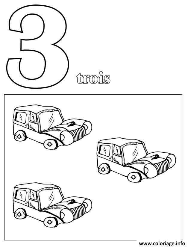 Dessin chiffre 3 avec mot et dessin Coloriage Gratuit à Imprimer