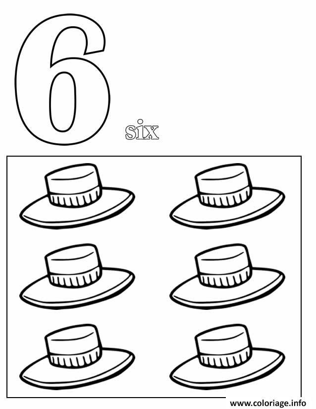 Dessin chiffre 6 avec mot et dessin Coloriage Gratuit à Imprimer