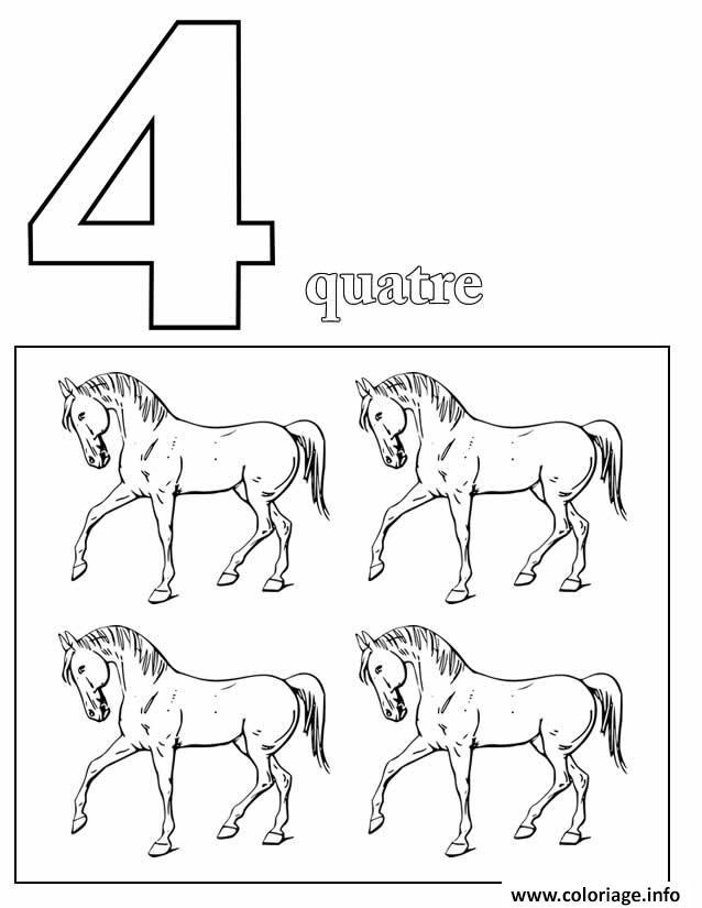 Dessin chiffre 4 avec mot et dessin Coloriage Gratuit à Imprimer