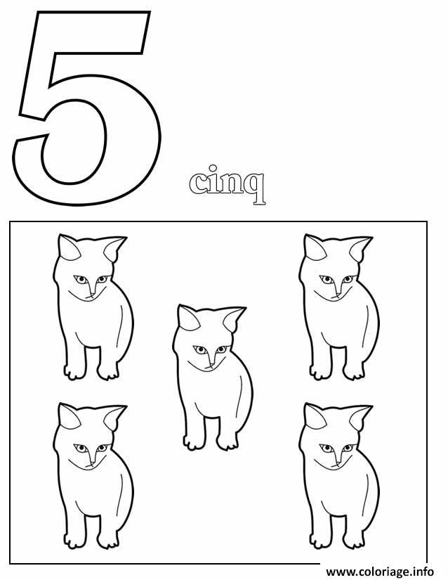 Dessin chiffre 5 avec mot et dessin Coloriage Gratuit à Imprimer