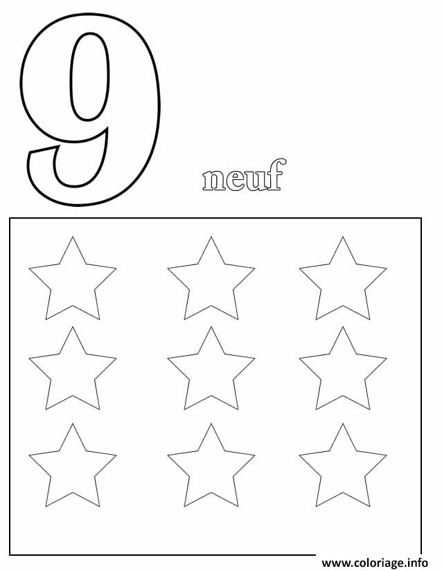 Dessin chiffre 9 avec mot et dessin Coloriage Gratuit à Imprimer