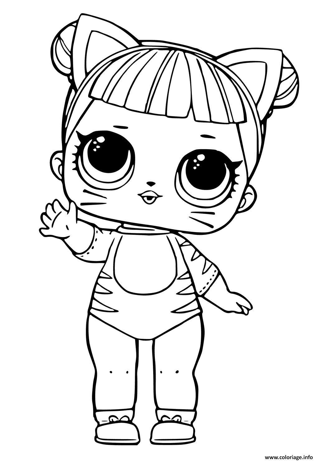Coloriage Lol Doll Tiger Cat Cute Jecolorie Com