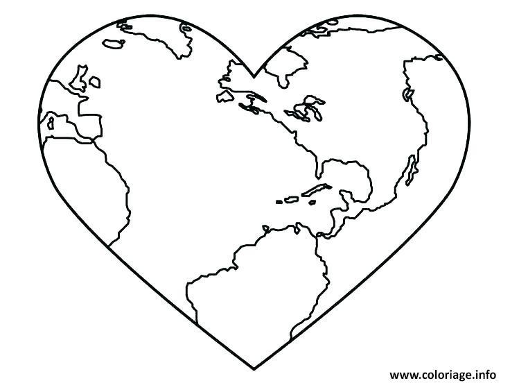 la terre en forme de coeur pour la journee de la terre coloriage dessin