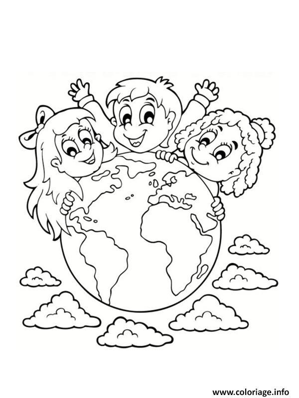 Dessin 22 avril jour de la terre Coloriage Gratuit à Imprimer