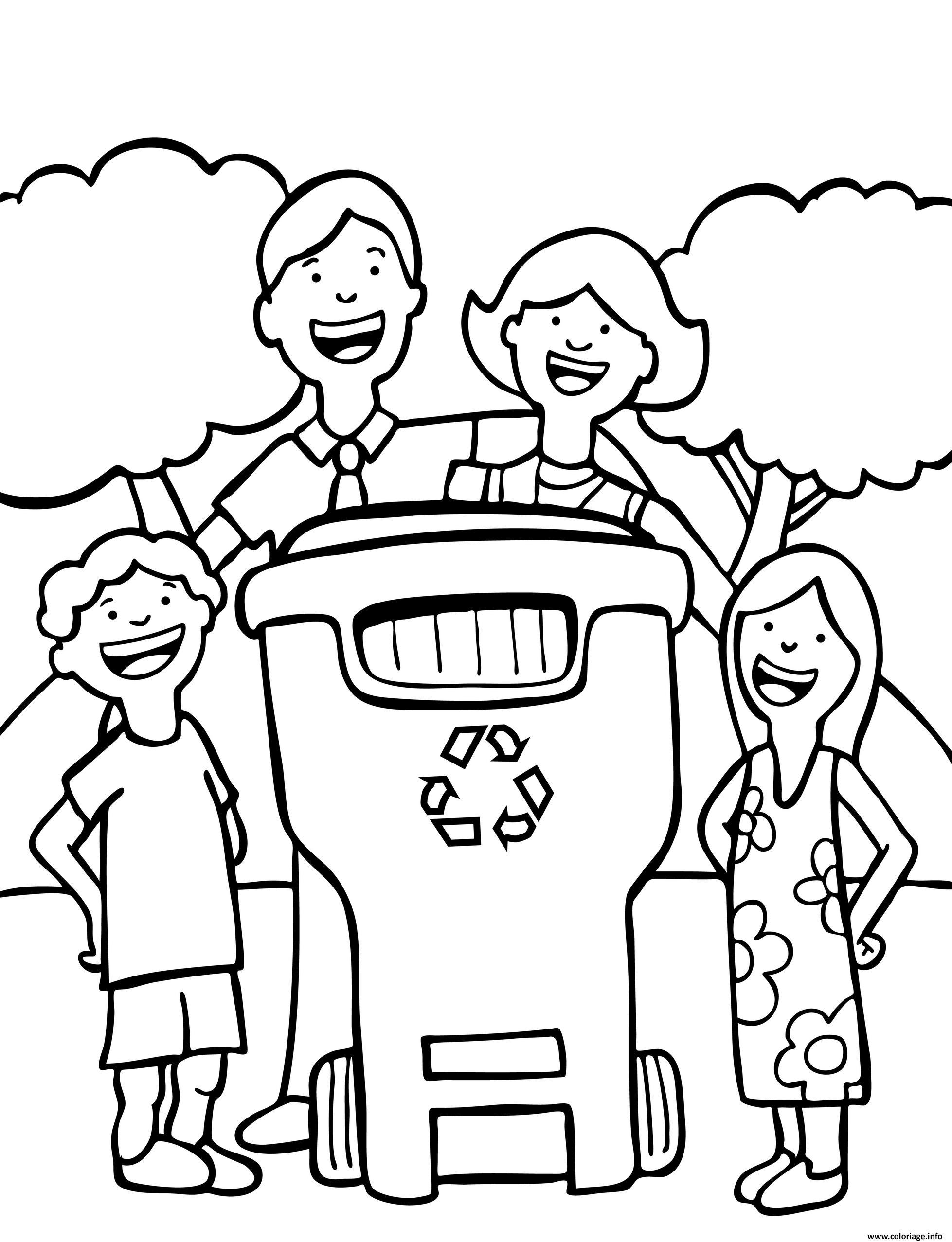Dessin famille bonne habitude jour de la terre recyclage Coloriage Gratuit à Imprimer