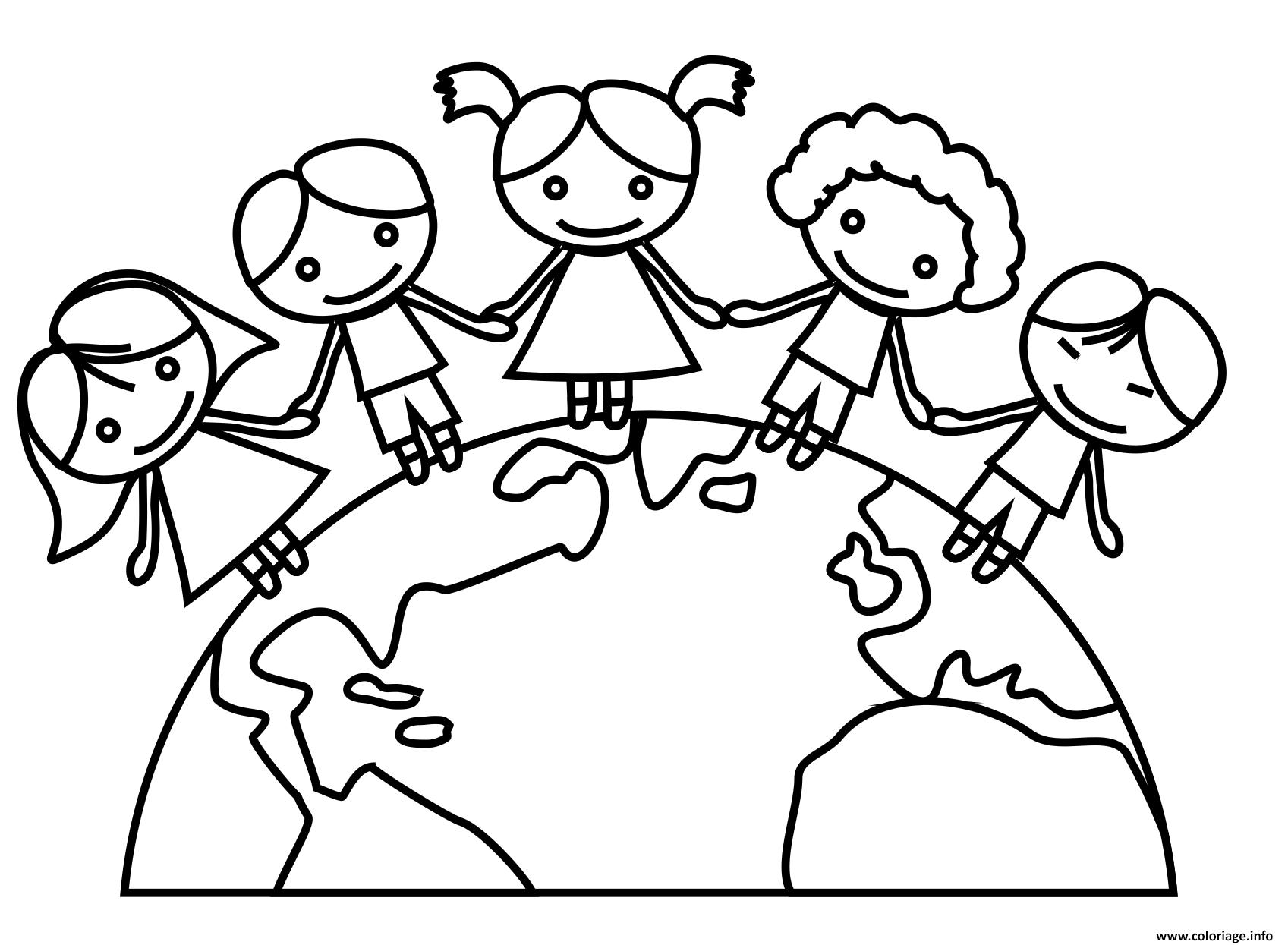 jour de la terre maternelle ecole enfants coloriage dessin