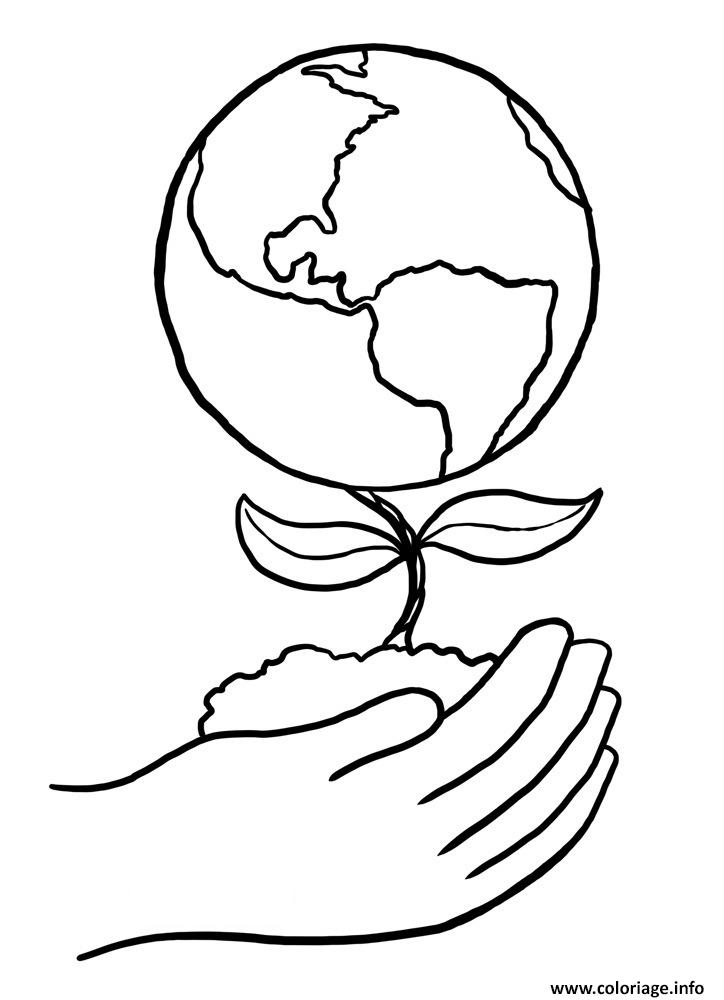 Coloriage jour de la terre main plante - Dessin de la main ...