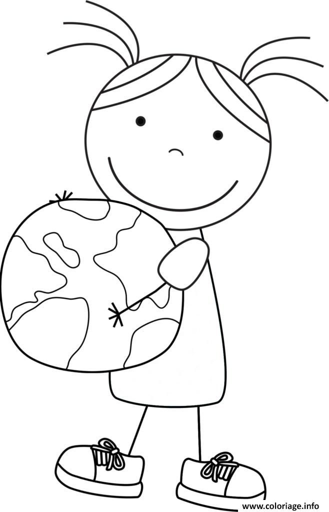Coloriage Petite Fille Tient La Terre Pour Le Jour De La