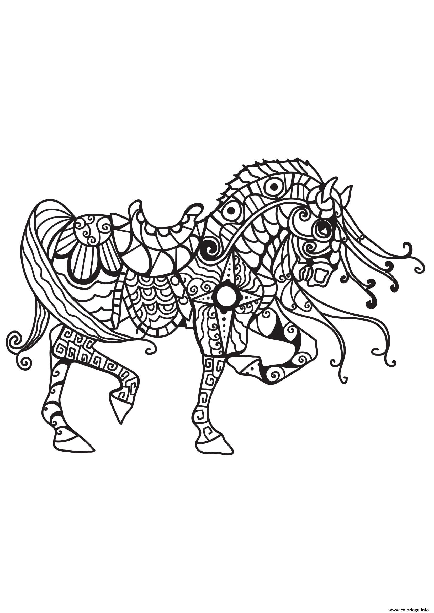 Impressionnant Dessin A Imprimer Cheval Mandala