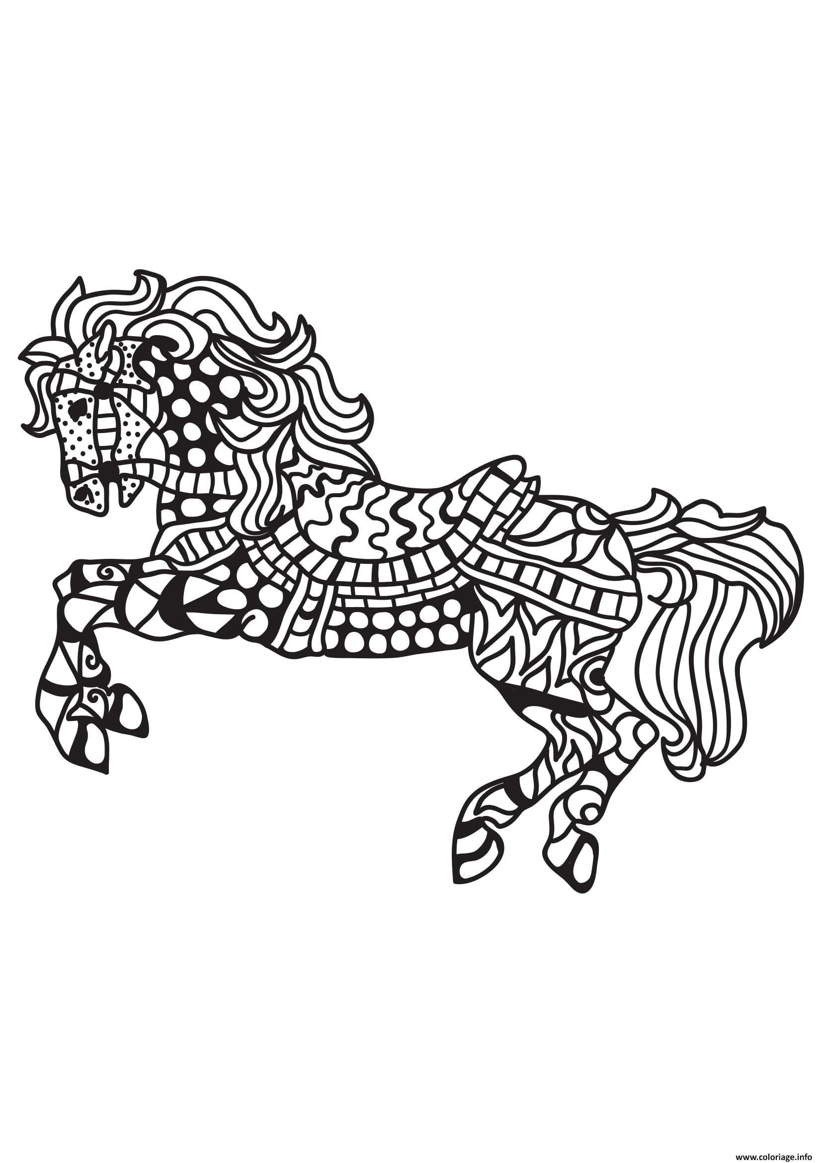 Coloriage Hello Kitty Cheval.Coloriage Adulte Cheval Mandala 3 Jecolorie Com