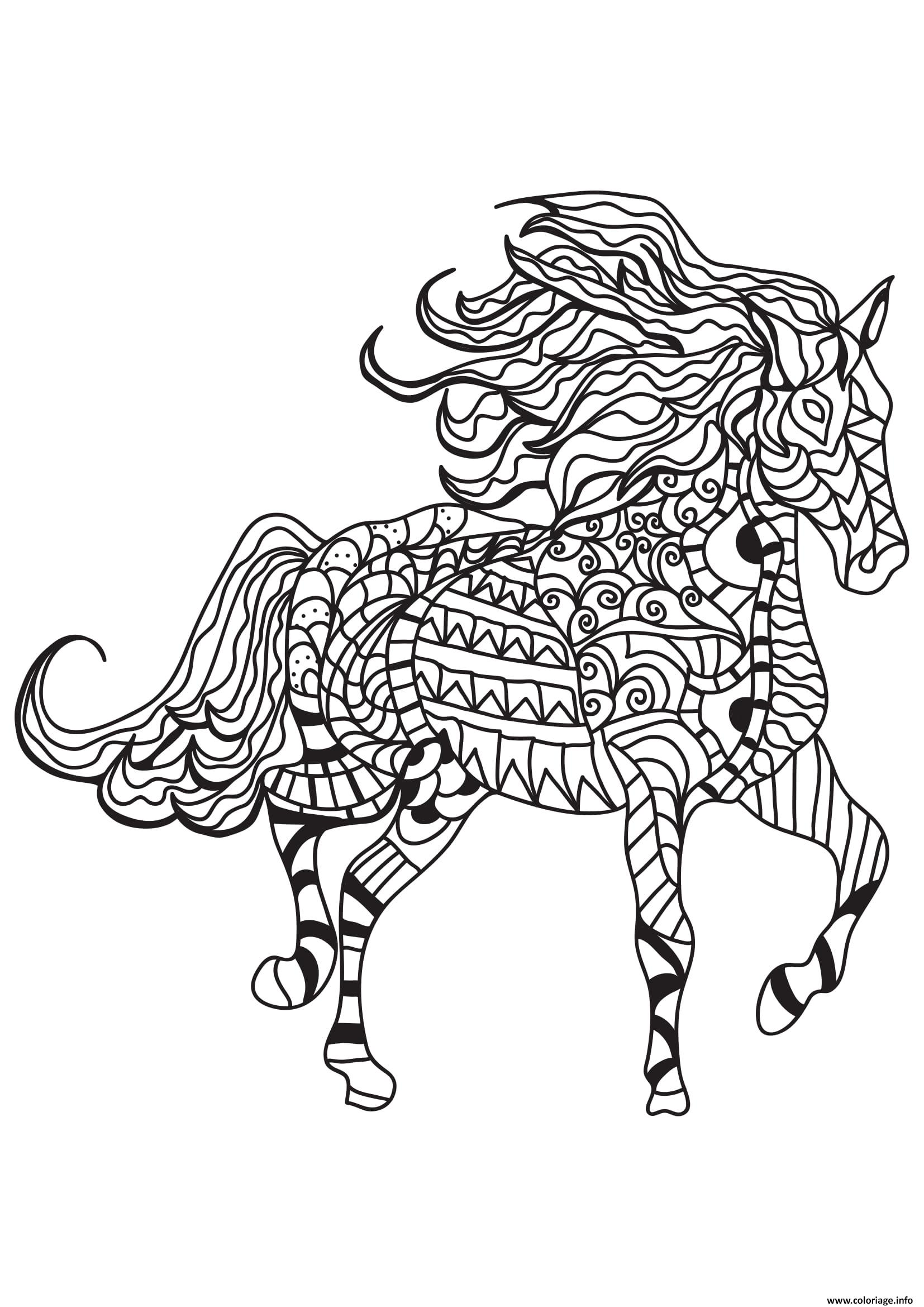 Coloriage adulte cheval zentangle 16 dessin - Chevaux a colorier ...