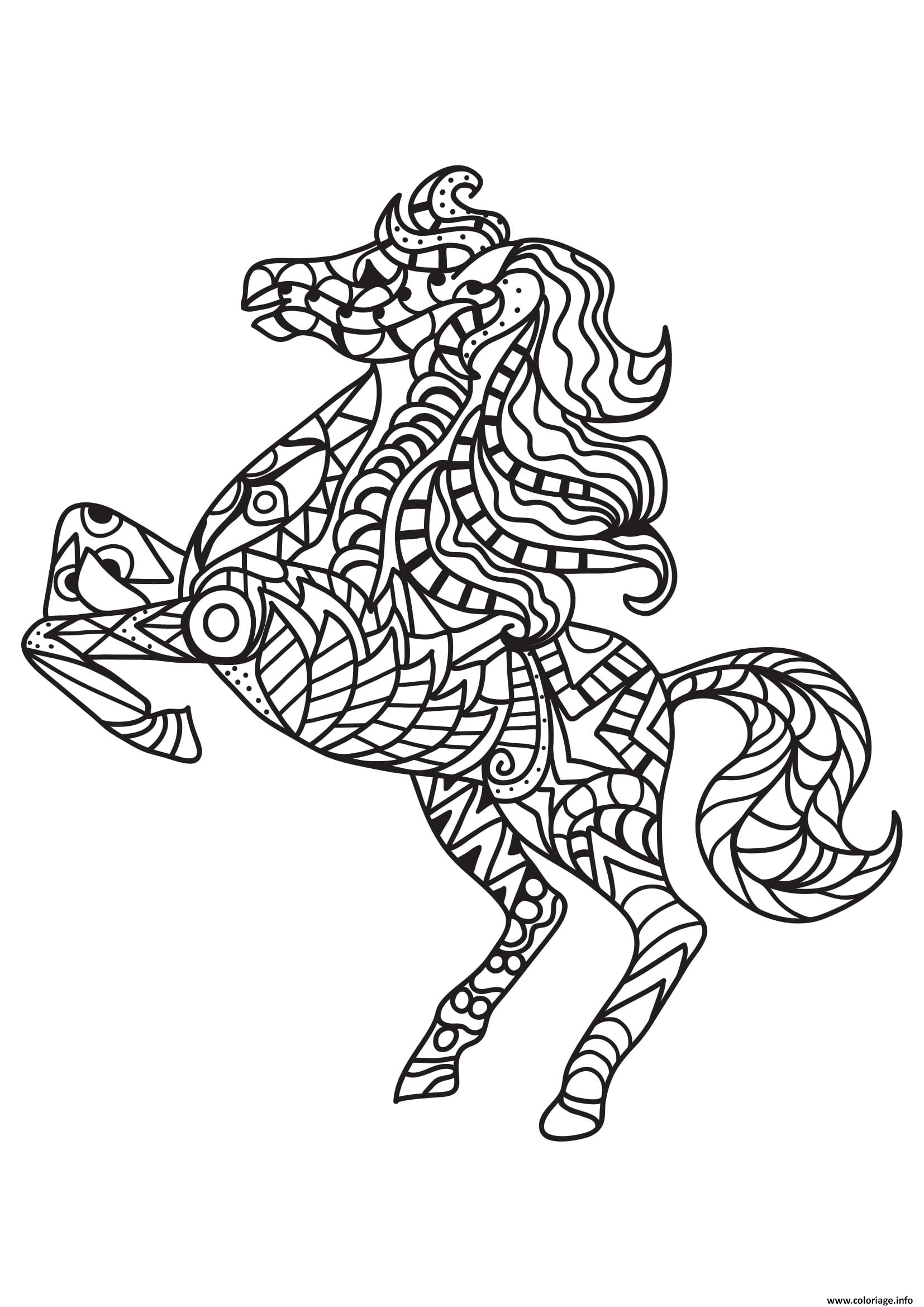 Coloriage Adulte Cheval Antistress 06 Dessin