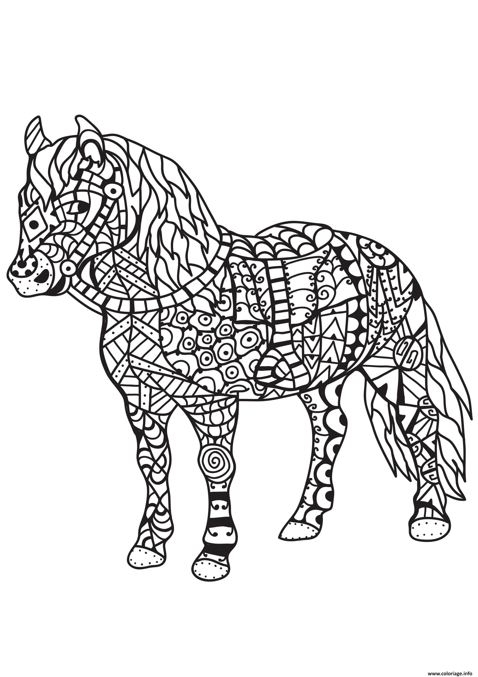 Coloriage Cheval Zen.Coloriage Adulte Cheval Zentangle 11 Jecolorie Com