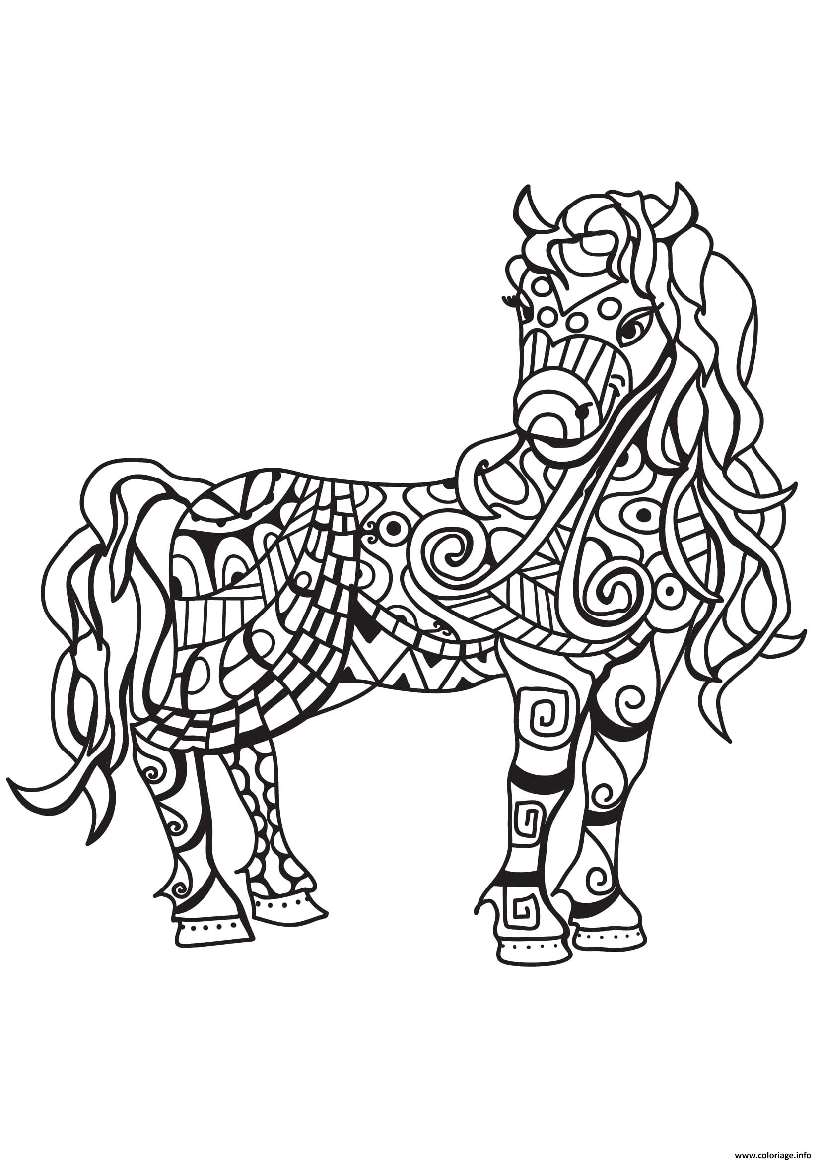 Coloriage Cheval Zen.Coloriage Adulte Cheval Zentangle 10 Jecolorie Com